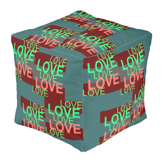 LOVE LOVE LOVE  Pouf-Home -Red/Blue/Turquoise/Pink Pouf