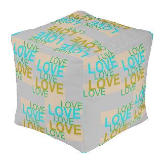 LOVE LOVE LOVE  Pouf-Turquoise/Gold/Peach/Gray Pouf