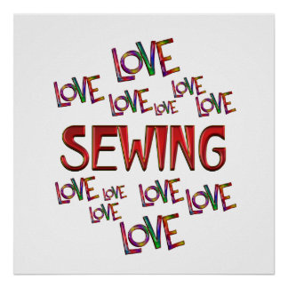 Love Love Sewing Poster