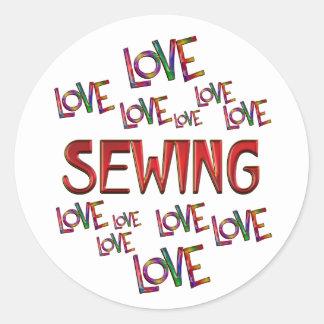 Love Love Sewing Round Sticker