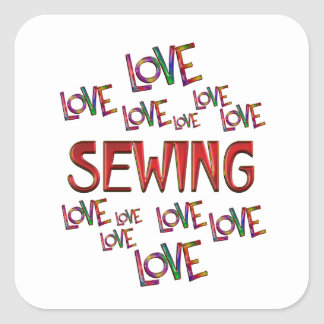 Love Love Sewing Square Sticker