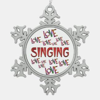 Love Love Singing Pewter Snowflake Ornament