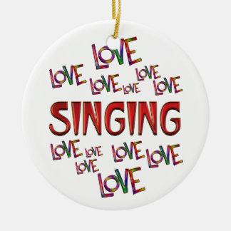 Love Love Singing Round Ceramic Ornament