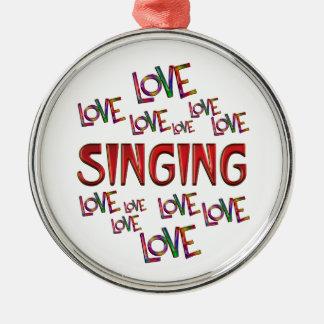 Love Love Singing Silver-Colored Round Ornament