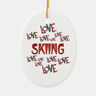 Love Love Skiing Ceramic Oval Ornament