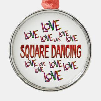 Love Love Square Dancing Silver-Colored Round Ornament