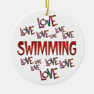 Love Love Swimming Round Ceramic Ornament