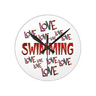 Love Love Swimming Wall Clocks