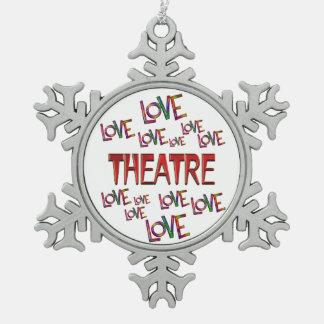 Love Love Theatre Pewter Snowflake Ornament