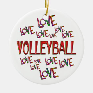 Love Love Volleyball Round Ceramic Ornament