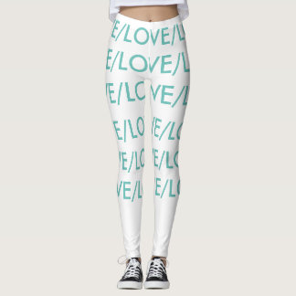 LOVE/LOVE, white and teal leggings