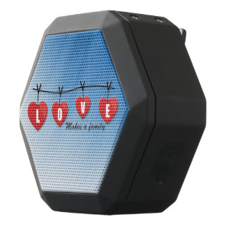 Love Makes a Family - Hearts Black Bluetooth Speaker