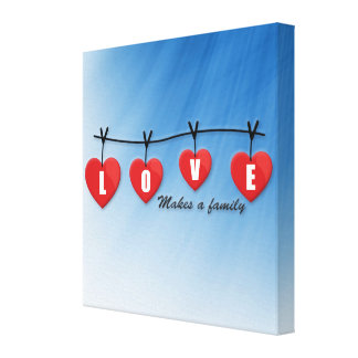 Love Makes a Family - Hearts Canvas Print