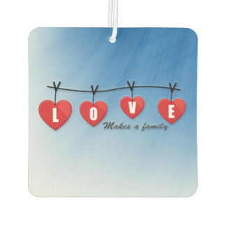 Love Makes a Family - Hearts Car Air Freshener