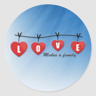 Love Makes a Family - Hearts Classic Round Sticker