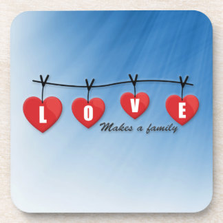 Love Makes a Family - Hearts Coaster