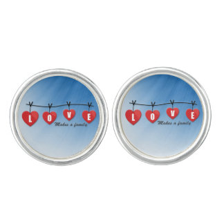 Love Makes a Family - Hearts Cuff Links