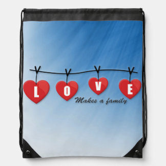 Love Makes a Family - Hearts Drawstring Bag