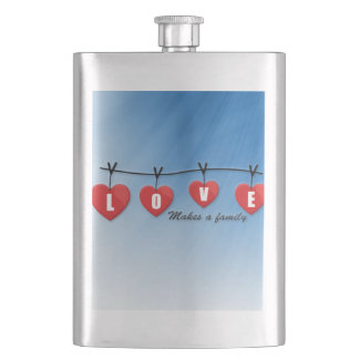 Love Makes a Family - Hearts Hip Flask
