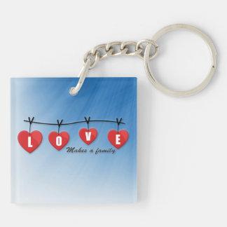 Love Makes a Family - Hearts Keychain