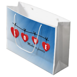 Love Makes a Family - Hearts Large Gift Bag