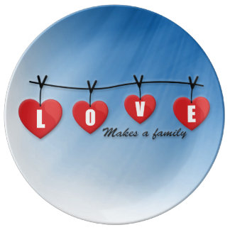Love Makes a Family - Hearts Plate
