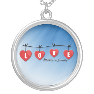 Love Makes a Family - Hearts Silver Plated Necklace