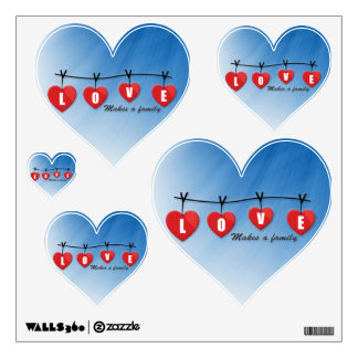 Love Makes a Family - Hearts Wall Decal
