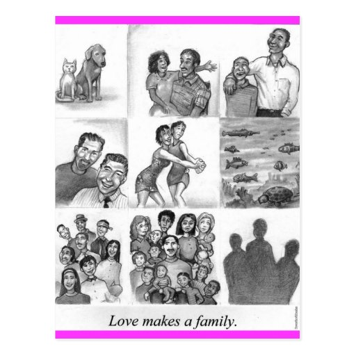 Love makes a family post card