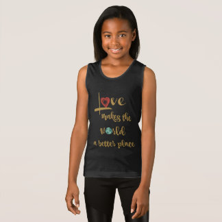 Love makes the world a better place (gold text) tank top