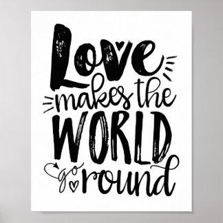 Love Makes the World Go Round Quote Art Print