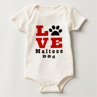 Love Maltese Dog Designes Baby Bodysuit