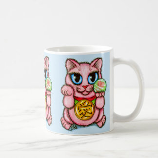 LOVE Maneki Neko Good Luck Cat Cute Art Mug