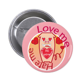 Love me Hate me pink pig button