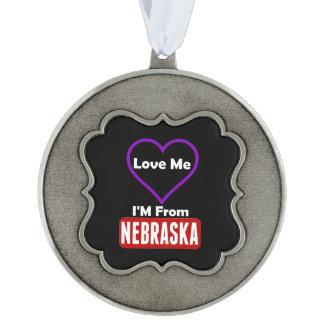 Love Me, I'M From Nebraska Scalloped Pewter Ornament