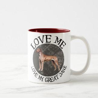 Love me, love my Great Dane Two-Tone Coffee Mug