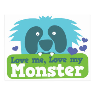Love me love my monster postcard