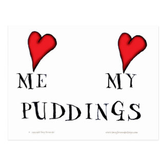 love me love my puddings, tony fernandes postcard