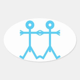 Love Men Icon Art Blue Oval Sticker
