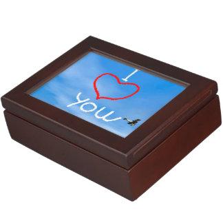 Love message from biplan smoke - 3D render Keepsake Box
