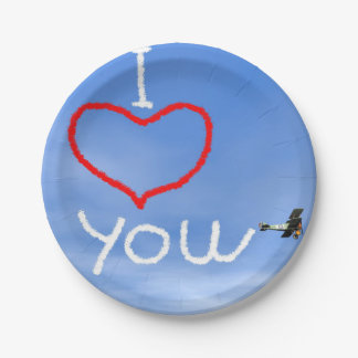 Love message from biplan smoke - 3D render Paper Plate