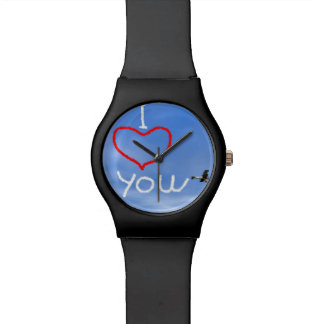 Love message from biplan smoke - 3D render Watch
