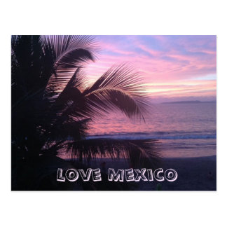 Love Mexico Sunset Postcard