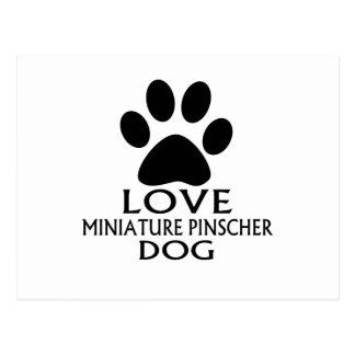 LOVE MINIATURE PINSCHER DOG DESIGNS POSTCARD