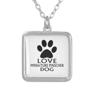 LOVE MINIATURE PINSCHER DOG DESIGNS SILVER PLATED NECKLACE