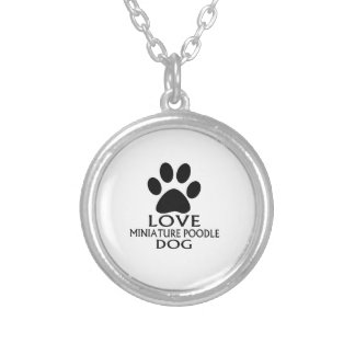 LOVE MINIATURE POODLE DOG DESIGNS SILVER PLATED NECKLACE