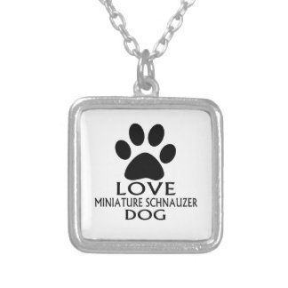 LOVE MINIATURE SCHNAUZER DOG DESIGNS SILVER PLATED NECKLACE