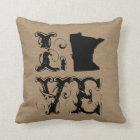 Love Minnesota state rustic chic burlap vintage Throw Pillow