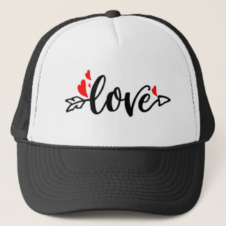 Love-Modern Typography Red Hearts Trucker Hat