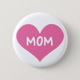 Love Mom Badge Button Pin